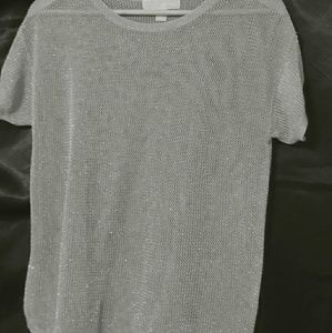 MICHAEL KORS SILVER mesh top size s woman